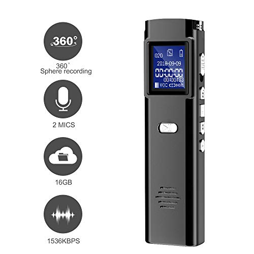 Digital Voice Recorder - 16GB Audio Voice Activated Recorder Rechargeable, 1536Kbps Portable Dictaphone, MP3 Player for Lectures, Meetings, Interviews, Class (16GB)