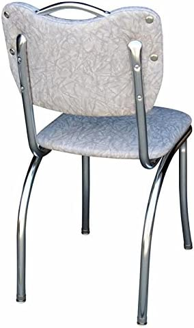 Richardson Seating Handle Back Chrome Diner Chair with 1 Pulled Seat, Cracked Ice Gray