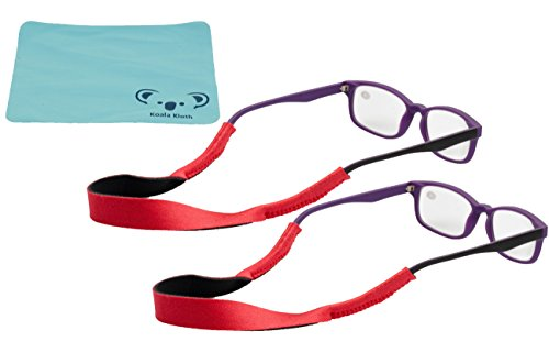 Croakies Kids Neoprene Eyewear Retainer Childrens Glasses Strap | Eyeglass and Sunglass Holder | Boys and Girls Sports Use | 2pk Bundle + Cloth, Red by Koala Lifestyle