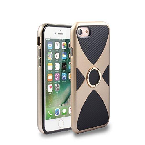 iPhone 7/iPhone 8 Fundas, TOTOOSE Anti-Scratch Cubierta trasera protectora con anillo de giro Soporte Soporte para iPhone 7 / iPhone 8-negro dorado
