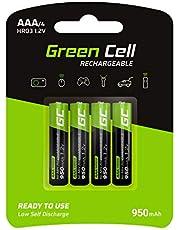 Green Cell GR03 Akumulatory AAA Wielokrotnego Ładowania o Mocy 950 mAh, Czarny/Zielony, 4 Sztuki