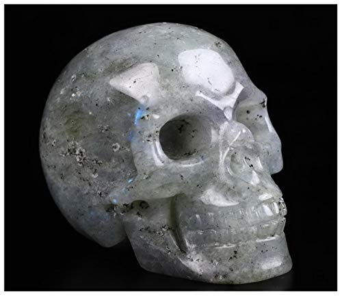 Skullis 2.0 Labradorite Crystal Skull, Hand Carved Gemstone Fine Art Sculpture, Reiki Healing Stone Statue.