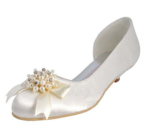 Prom Hochzeit Party Prom Elfenbein Schuhe Ferse Minitoo Satin Womens Pumps Kätzchen qwHpxIR0