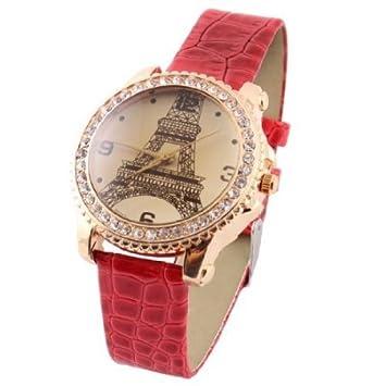 Amazon.com : Torre Eiffel Impresi?n roja correa de reloj del dial redondo reloj de pulsera para damas : Beauty