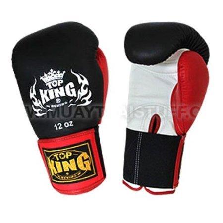 Top King Boxing Gloves Muay Thai Black Gloves Red Thumb Velcro (16OZ)