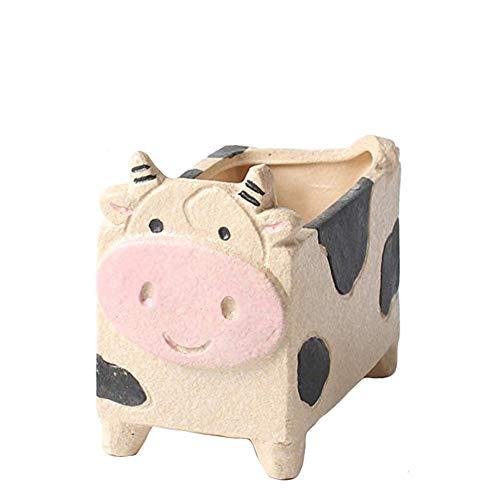 YOURNELO Crude Pottery Cute Animal Plant Flower Pot Succulent Planters Vase (Cow)