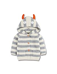 mimixiong Baby Sweater Cardigan Boy Hooded Jackets Long Sleeve Coats