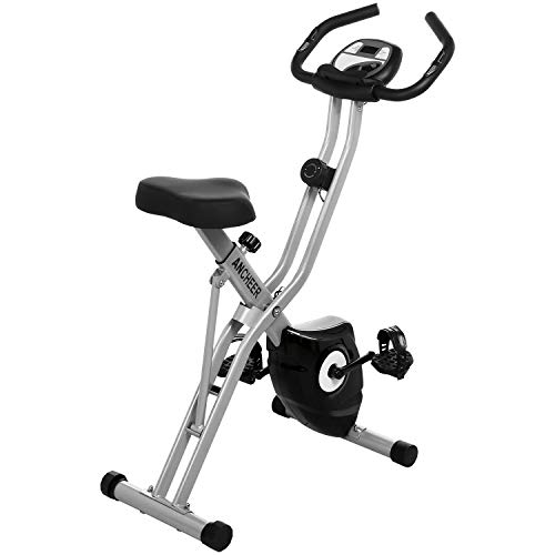 ANCHEER Folding Exercise Bike, Indoor Stationary Bike with 10-Level Adjustable Magnetic Resistance & Tablet Stand & Large and Comfortable Seat