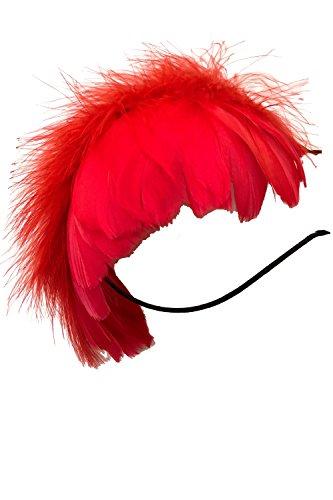 (ADOSSY) 깃털 머리장식 카츄샤 머리장식 악세사리 할로윈 파티 클럽 이벤트 (레드, 블랙, 화이트)