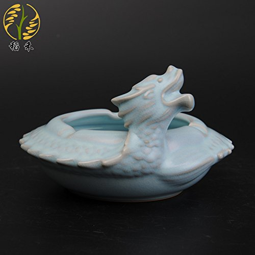Znzbzt Creative ceramic crafts ceramic ashtray desktop utility ornaments swing-pan long cigarette smoking, Pan Long Cylinder-Gu Yun Tin Ching - gift boxed by Znzbzt