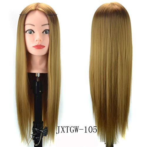 Jinjiums Women's Wigs,Fashionable Hair Styling Wig Practice Training Head Mannequin Hairdressing Halloween Cosplay (C)