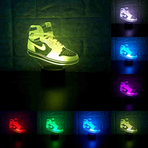 (Sneakers 3D Lamp Table NightLight 7 Color Change Running Shoes LED Desk Light Touch Multicolored USB Power As Home Decoration Lights Tractor for Boys Kids (Touch) (Jordan 1))