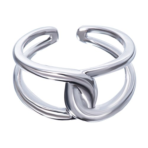 Fonsalette Gold Plated Infinity Ring Sterling Silver Open Twist Ring Two Band Ring (silver) by Fonsalette