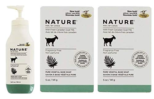 Goat Milk Lotion Base - Canus Nature Fragrance Free Moisturizing Lotion and Nature Pure Vegetal Oil Base Soap Fragrance Free (Pack of 2) Bundle with Goat Milk and Soybean Oil, 11.8 oz. and 5 oz.