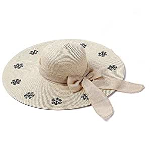 Hats Cool Visor Summer with Bow Black Snowflake Pattern Women's Straw Hat Fashion (Color : Beige, Size : Adjustable)
