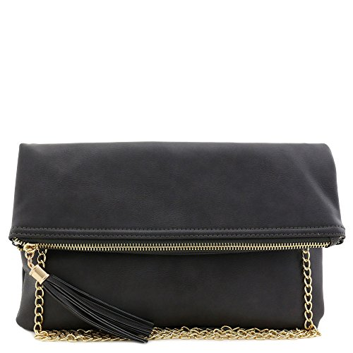 Tassel Accent - Tassel Accent Flapover Clutch Purse with Chain Strap (Charcoal Grey)