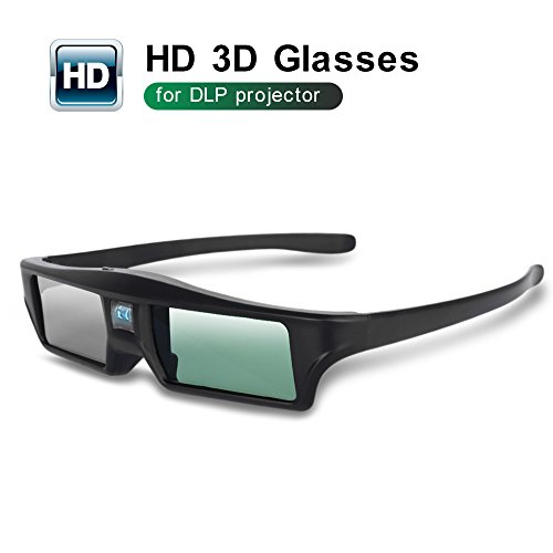 Foluu 3D Glasses DLP Active Shutter 3D Glasses Rechargeable Hi-Brightness Contrast Compatible with All 3D DLP Projectors