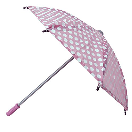 (Sophia's 18 Inch Doll Polka Doll Umbrella, Open & Close Pink & White Polka Dot Umbrella Perfect for American Girl Dolls & More!)