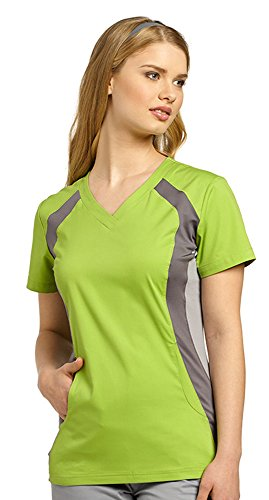 Allure by White Cross Women's V-Neck Top with Contrast Knit Trim Stretch Side Large Green - Apple Pewter