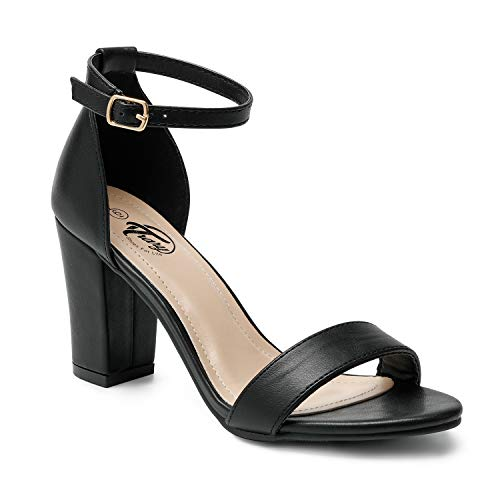 Trary Women's Ankle Strap and Adjustable Buckle Chunky Pump Heel Sandals Pu Black 08