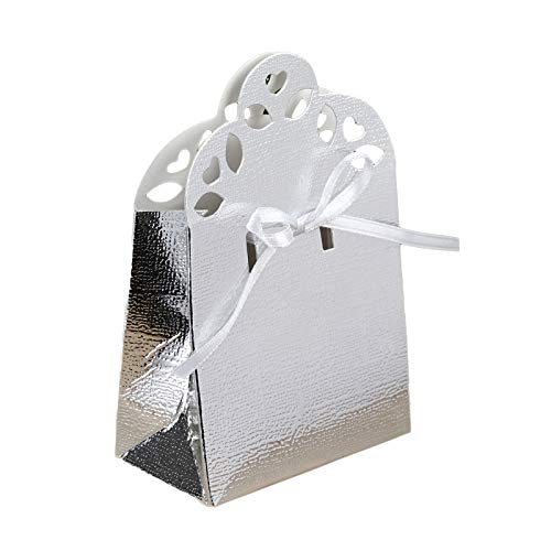 BalsaCircle 100 Silver Cute Wedding Favor Boxes with Ribbon for Wedding Party Birthday Candy Gifts Decorations Supplies
