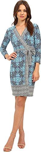 Matte Jersey 3/4 Sleeve Top (Donna Morgan Women's 3/4 Sleeve Wrap Matte Jersey Dress Sky Blue Multi Dress)