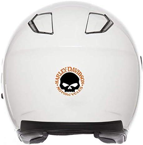 Adhesivos retroreflectantes para Casco de Moto Harley Davidson Skull Naranja