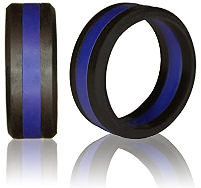 Knot Theory Striped Silicone Wedding Ring ★Award-winning ★Superior Comfort, Style, Safety (Black with Grey, Blue, Red, Green Line)