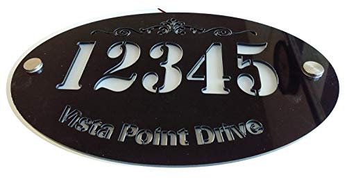 Custom House Address Plaque, LED Illuminated Laser Engraved Acrylic Double Plates Sign, Premium Quality, Stylish and Durable (11