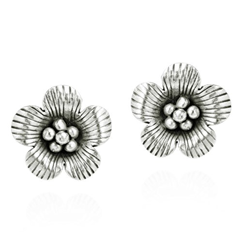 Handmade Mountain Flower Thai Hill Tribe Fine Silver Post Earrings