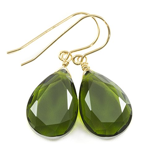 14k Yellow Gold Filled Green Olive Simulated Quartz Earrings Faceted Teardrops Simple Dangle Drops 1.4
