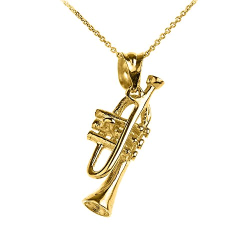 14k Yellow Gold Trumpet Music Charm Pendant Necklace, 16