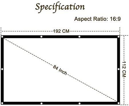 KPCB Pantalla para proyector de 84 Pulgadas (192 cm * 112 cm), 16: 9 HD 4K Antiarrugas Plegable, Adecuado para Cine en casa y películas al Aire Libre