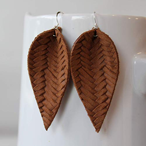 (Genuine Leather & Sterling Silver Leaf Earrings // Saddle Brown Braided // Joanna Gaines)