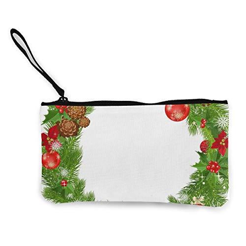 Christmas Garland Border Women's Travel Canvas Coin Purse Designer Small Clutch Pouch Cosmetic Organizer Bag