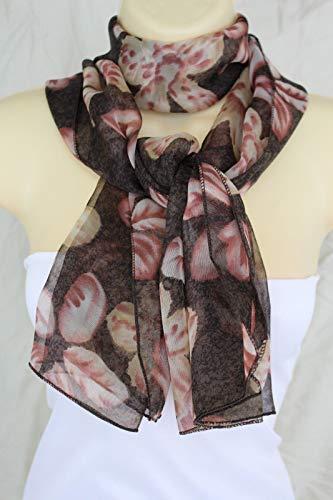 Flowers New Necktie - New Women Classic Fashion Long Flowers Brown Scarf Wrap Neck Tie Floral Print
