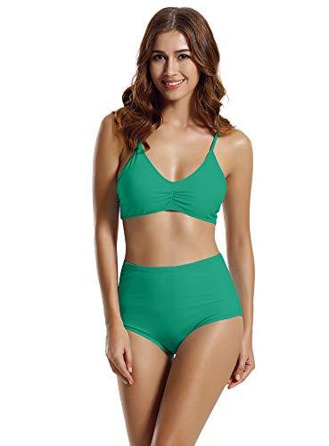 zeraca Women's Racerback High Waisted Bikini Bathing Suits (FBA) (Small / 6, Teal Blue)