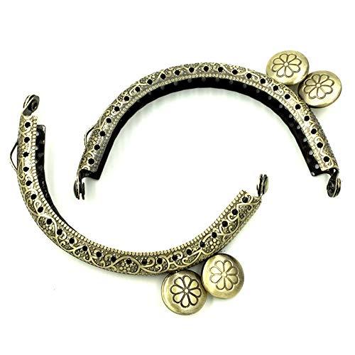 Daisy Storee 10Pcs Bronze Tone Round Head Flower Pattern Clutch Arc Metal Frame Kiss Clasps Lock Purse Bag Handbag Handle 86x52mm