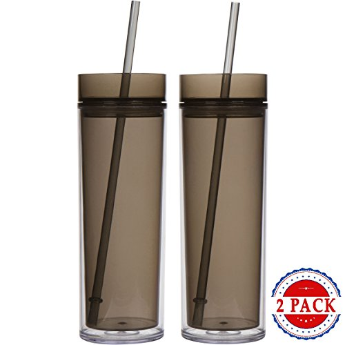 Top House Acrylic Skinny Tumblers with Smoke Cup Lid and Reusable Straw, 16oz Travel Cups, Insulated Double Wall Design, Bulk Party Pack of 2 16 Ounce Travel Cup