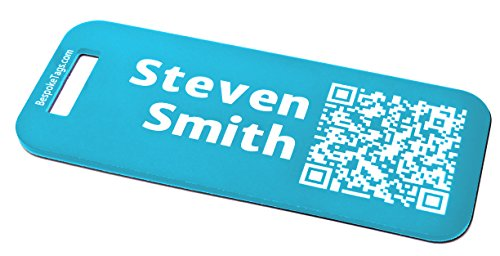Custom Metal Luggage Tag - Customized Engraved Info & QR Code (Small, Turquoise)