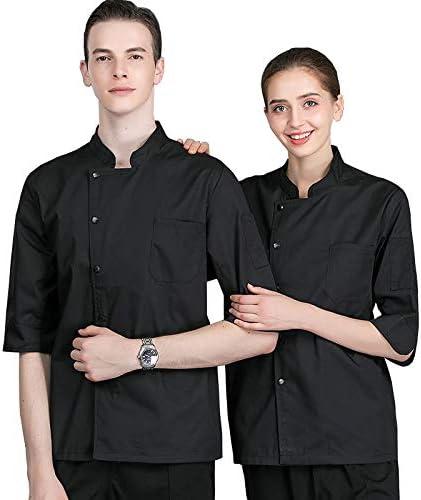XRRa&XF Unisexo Mujeres Hombre Verano Manga Corta Camisa de Cocinero Transpirable Chaquetas de Chef Uniforme Cocina Restaurante Occidental,Negro,XXL: Amazon.es: Deportes y aire libre
