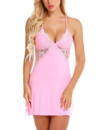 Lace Baby Doll Nightie - RSLOVE Women Lace Full Slip Lingerie Chemise Sexy Nightie Babydoll Sleepwear Dress Pink M