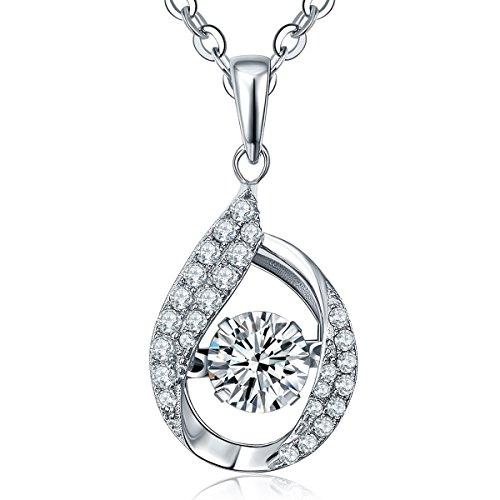 YL Sterling Silver Dancing Diamond 1.42 Cttw Cubic Zirconia Teardrop Pendant Necklace 18+2'' (Diamond Teardrop Pendant)
