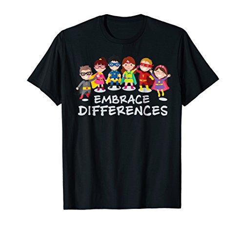 Embrace Differences Autism Awareness Superhero Kids T Shirt -