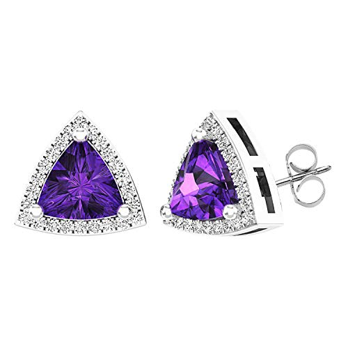 Dazzlingrock Collection 10K 6 MM Trillion Amethyst & Round White Diamond Ladies Halo Stud Earrings, White Gold