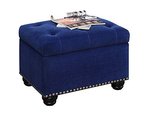 Convenience Concepts Designs4Comfort 5th Avenue Storage Ottoman, Blue Velour,