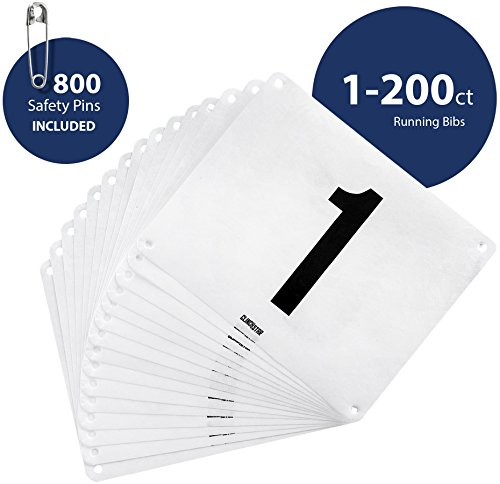 Clinch Star Running Bib Large Numbers with Safety Pins for Marathon Races and Events - Tyvek Tearproof and Waterproof 6 X 7.5 Inches (Numbers 1-200)