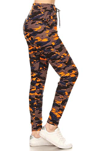 Leggings Depot JGA-S714-M Camouflage Flame Jogger Pants, Medium