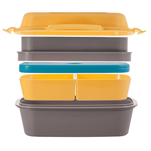 Ultimate Bento Box - Lunch Box for Kids & Adults - 100% Leakproof - Multi Compartment Food Container with Removable Containers and Ice Pack - Microwave & Dishwasher - Box Fridge Bento
