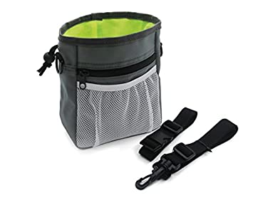 Dog Treat Training Pouch Easily Carries Pet Toys, Kibble, Treats, Bags Built-In Poop Bag Dispenser 3 Ways To Wear Grey By Green Bota